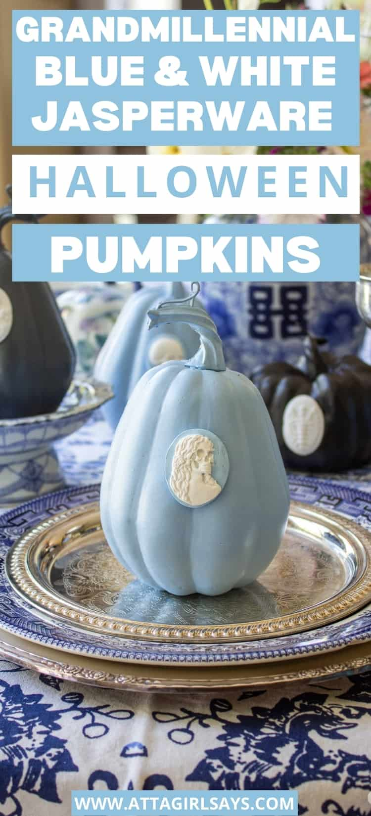 blue and white pumpkin with a skeleton cameo attached to it