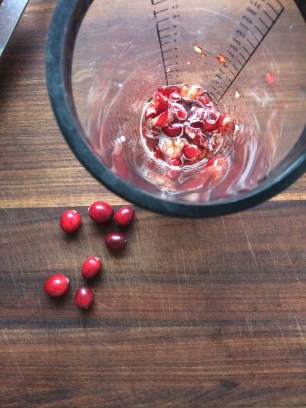 muddled cranberries, water, sugar