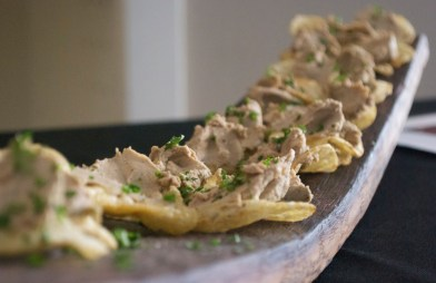 Beautiful chicken liver mousse for a wine tasting