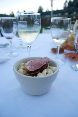 Mac and cheese, topped with smoked duck breast