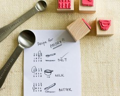 Recipe Writing Rubber Stamps from Paper Cookie