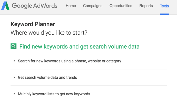 Google keyword tool starting page
