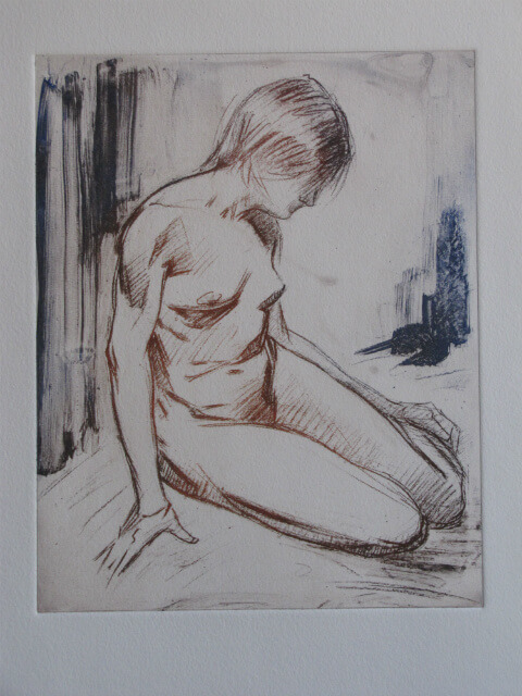 """Seated Nude, Color,"" a print by Judith Reeve"