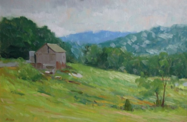 Barn in Fremont, a landscape painting by Judith Reeve