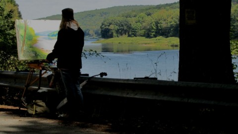 Judith Reeve painting the Delaware River