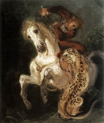 Eugène Delacroix, Jaguar Attacking a Horseman