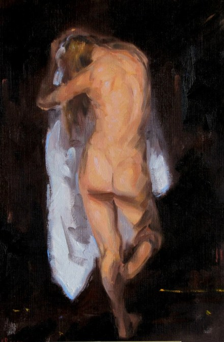 Figure with White Drape, a painting by Judith Reeve