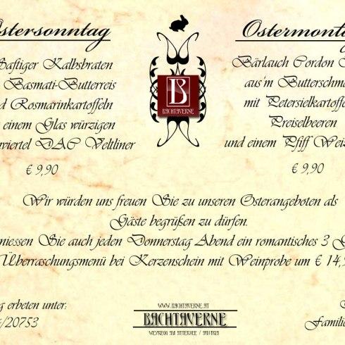 Ostermenü des Restaurant Bachtaverne