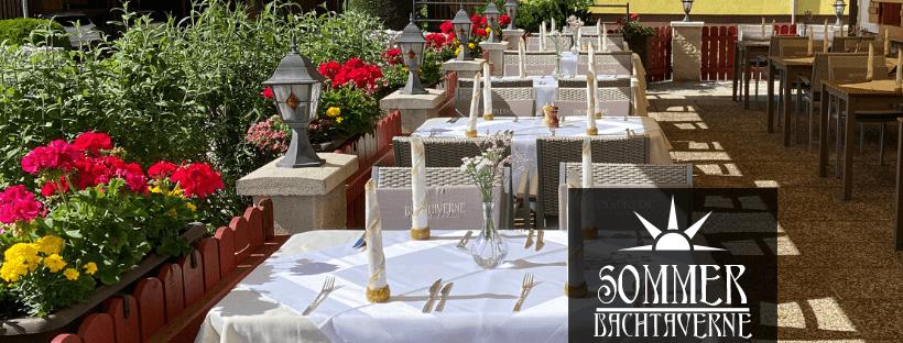 Der Gastgarten des Restaurant Bachtaverne