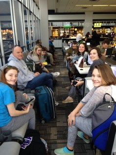 At the airport in December - headed off for a family vacation