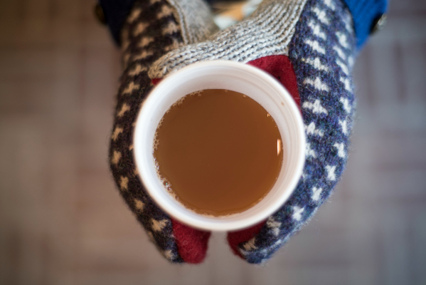 After apple picking, warm up with a warm cup of hot chocolate or coffee from the store.