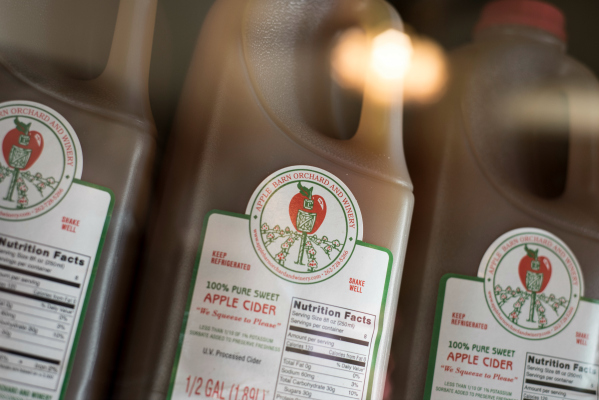 Cider is made fresh at the Apple Barn and available for purchase in the store.