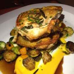 Pollo al Forno (roasted organic chicken, roasted brussels sprouts, butternut squash, pancetta ragu)
