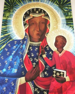 Painting of the Black Madonna of Częstochowa outside the shrine's gift shop