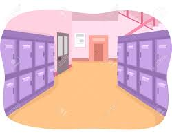 Illustration Of An Empty School Hallway Painted In Bright Colors Stock  Photo, Picture And Royalty Free Image. Image 41685698.