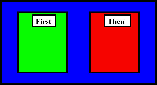 "First-then board where ""first\"" box is green and \""Then\"" box is red.  They rest on a blue background"