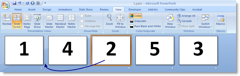 Screenshot of Slide Sorter view of PowerPoint with arrow showing third slide being dragged into position as the second slide