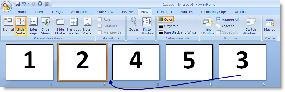 Screenshot of Slide Sorter view of PowerPoint dragging the fifth slides into the third slide position
