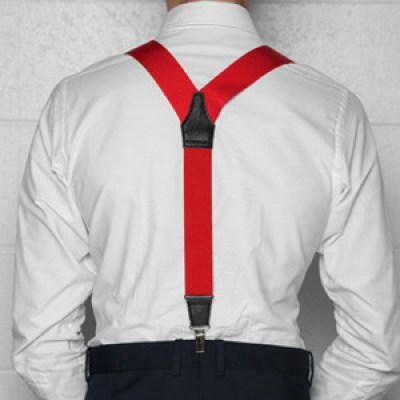 Red suspenders go great with a white shirt
