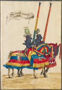 From the Burgkmair Tournament Book - the horse in the front wears red, yellow and blue, the three primary colors.