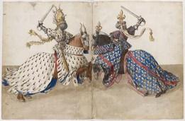 René d'Anjou, Livre des tournois France Provence 15th century by Barthélemy d'Eyck. Great pattern work!