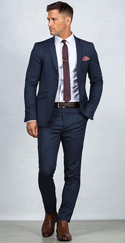 What suit colors are right for business b attire club for Shirt color navy suit