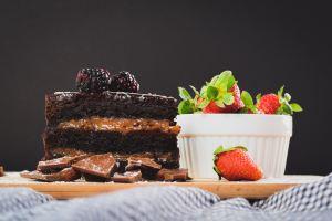 chocolate cake and fruits