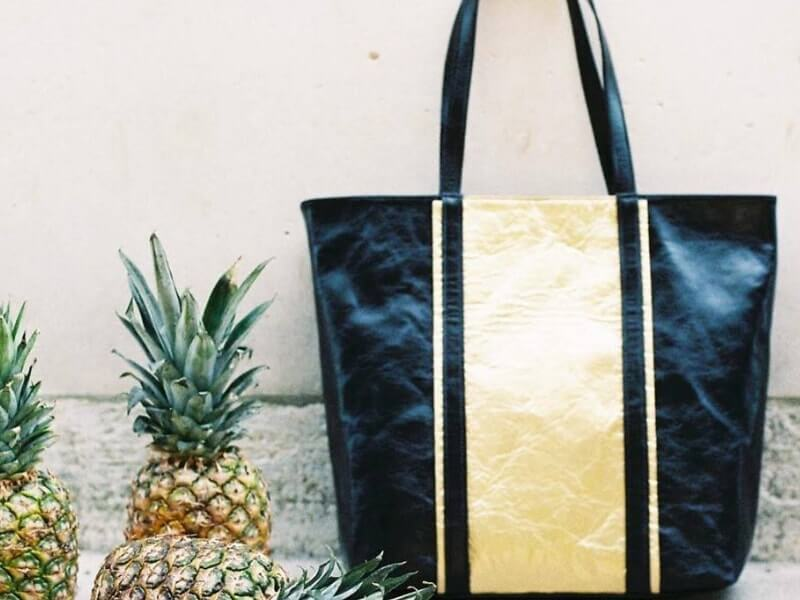 Black and Gold pineapple leather bag