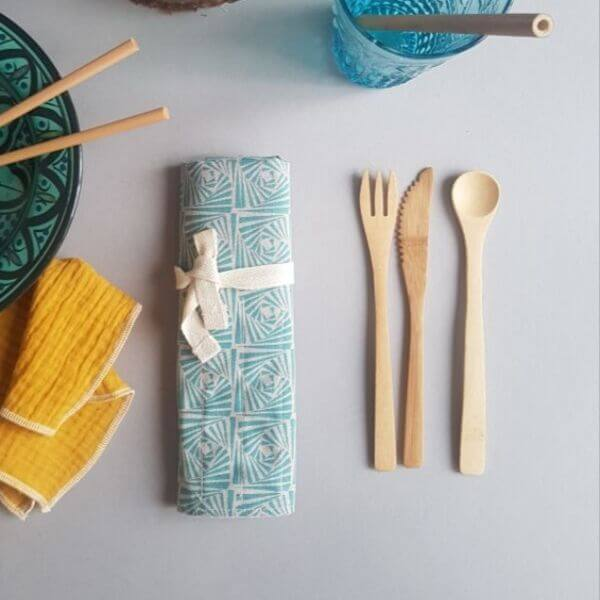 Reusable Bamboo Travel Cutlery Set (Blue Geometric pouch) – Leave No Trace
