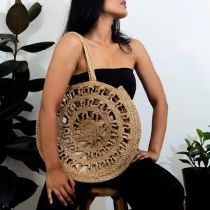 Rani Handmade Shoulder Bag In Jute