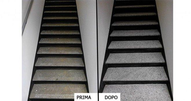 trattamento pavimenti scale prima e dopo