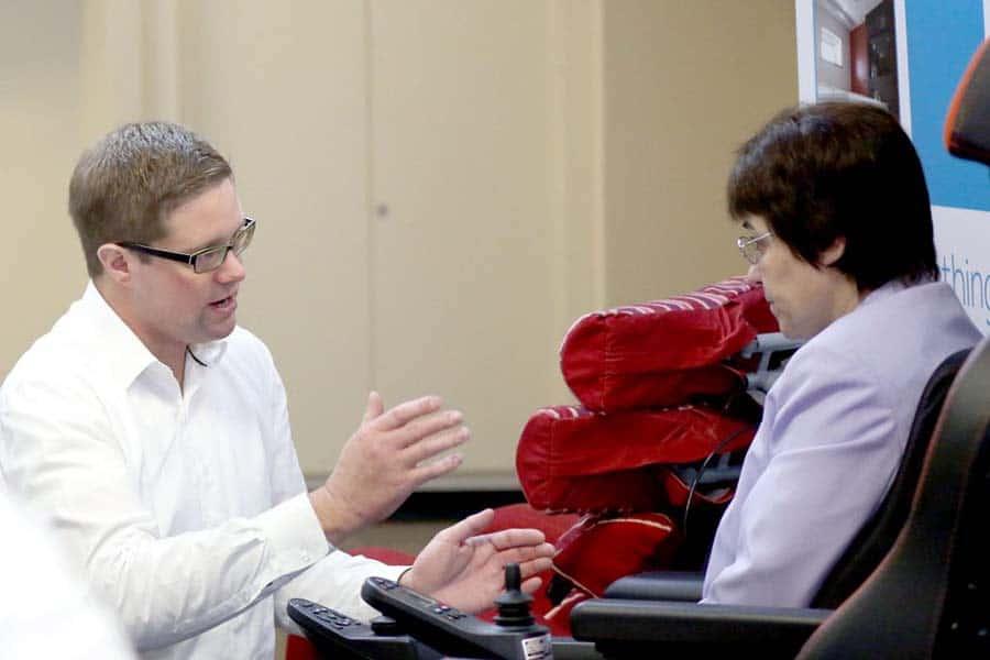 Ramsey Hulbert providing Powerchair Training pre-COVID