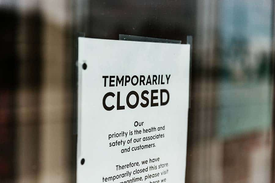 temporarily closed sign image