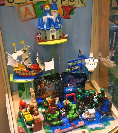 I just noticed these Lego-like building block sets in Once Upon A Toy. I've heard Lego is going to be doing some Disney sets soon. I hope they include some large sets of popular theme park attractions that look better than these.