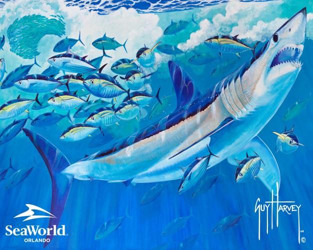 Guy Harvey paints SeaWorld Mako