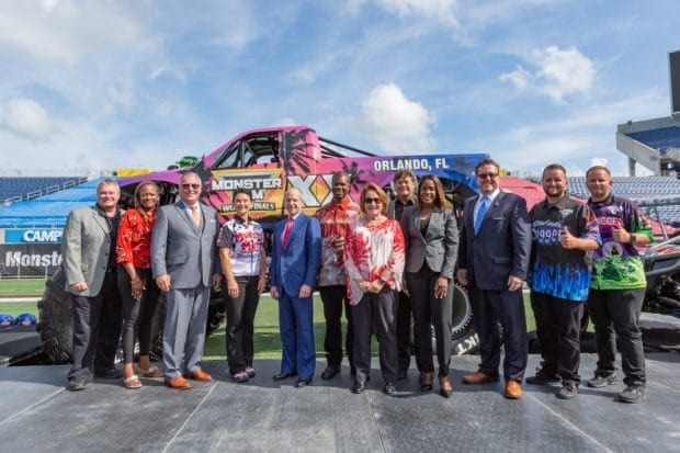 Mayor Buddy Dyer and other local officials announce Monster Jam World Finals XX in Orlando.
