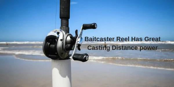 Bait caster great distance power