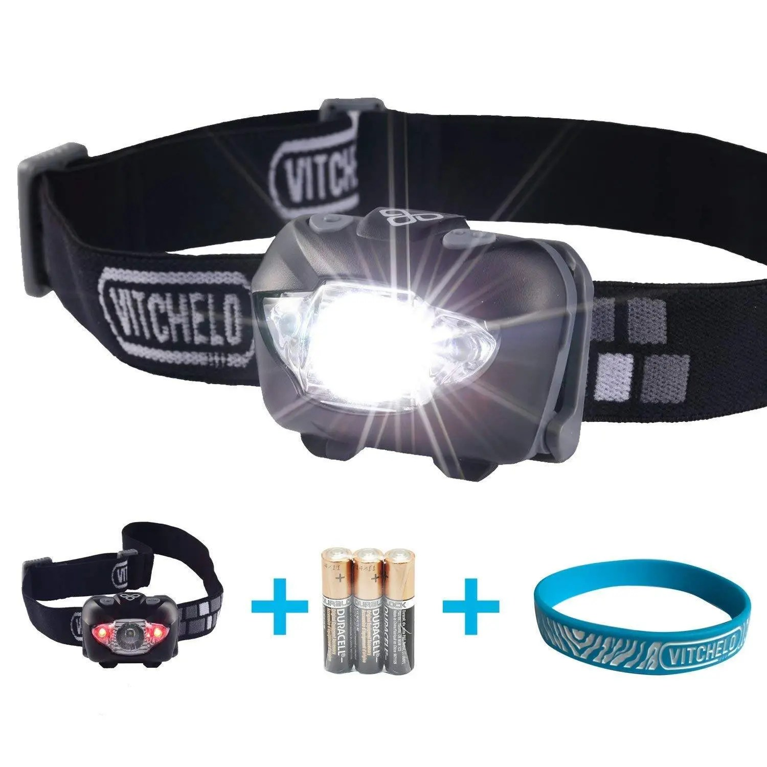 VITCHELO V800 Headlamp with White and Red LED Lights