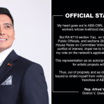 Full Statement: QC 5th District Rep. Alfred Vargas will inhibit from voting on the ABS-CBN Franchise Renewal