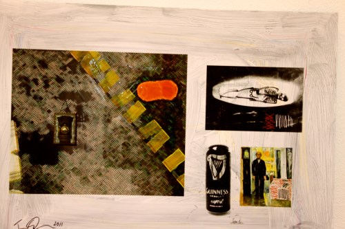Cross-hatching: PHOTO COLLAGE, CROSSHATCH MUNCH AND GUINESS Between The Bed & Two Clocks 2011 D1