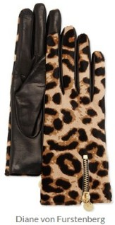 Diane von Furstenberg - Leopard-Print Calf Hair and Leather Gloves
