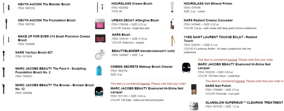Sephora shopping basket