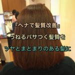 『ヘナで髪質改善』うねるパサつく髪質をツヤとまとまりのある髪に《大阪美容室》