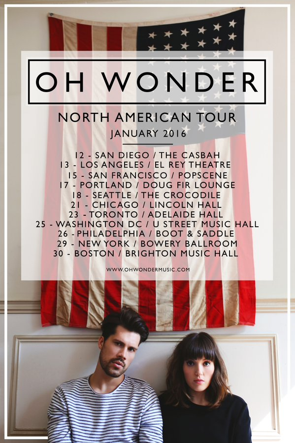 Oh Wonder January 2016 Tour Poster