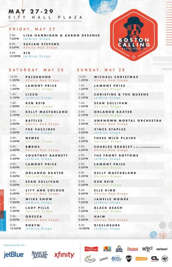 Boston Calling May 2016 Spring Schedule