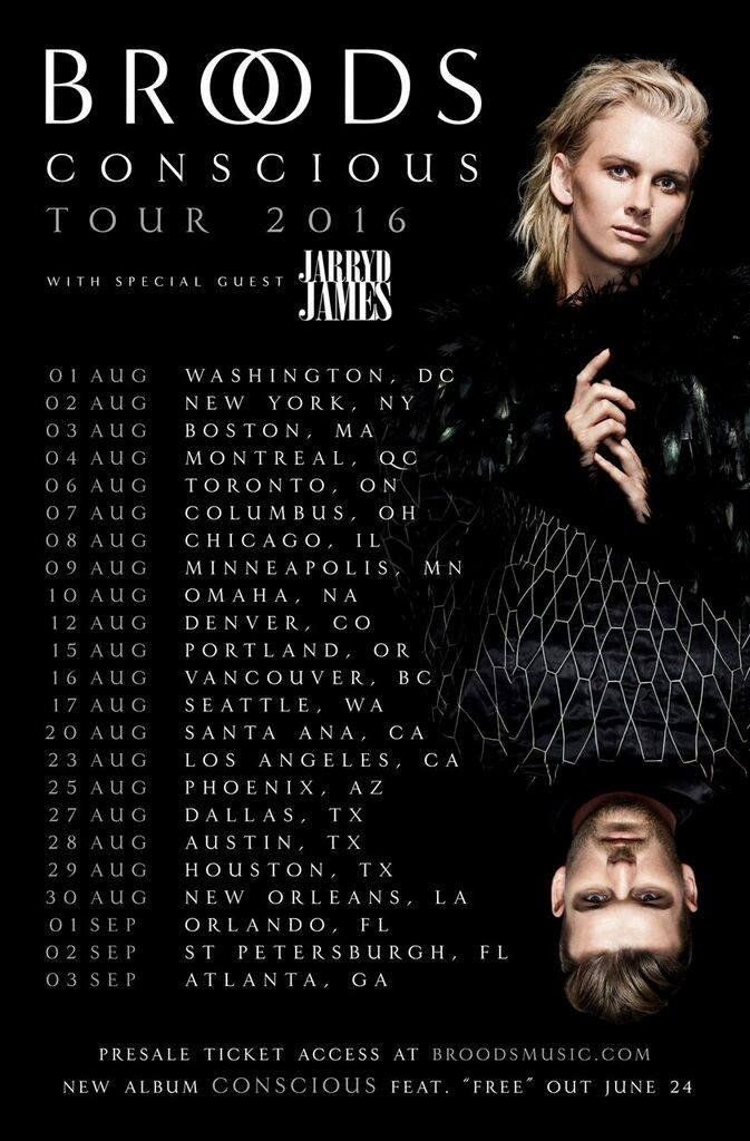 "Broods' North American ""Conscious"" Tour 2016 poster"