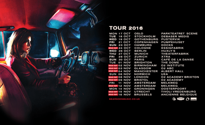 Bear's Den 2016 tour poster