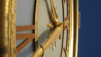 Close-up of clock hands