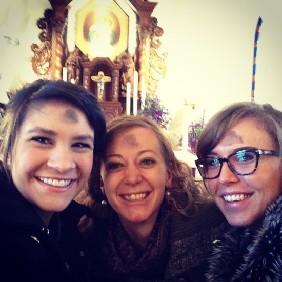 My friends and I last year at the Schoenstatt Shrine for Ash Wednesday mass #Ashie