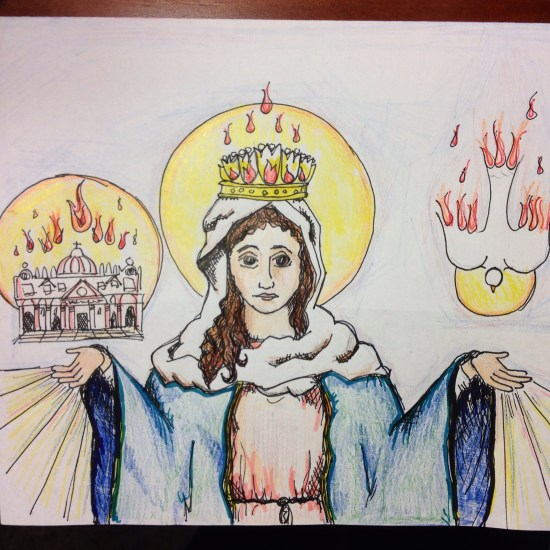 (Sketched by me, in contemplation of Mary's mediating role on Pentecost Sunday)